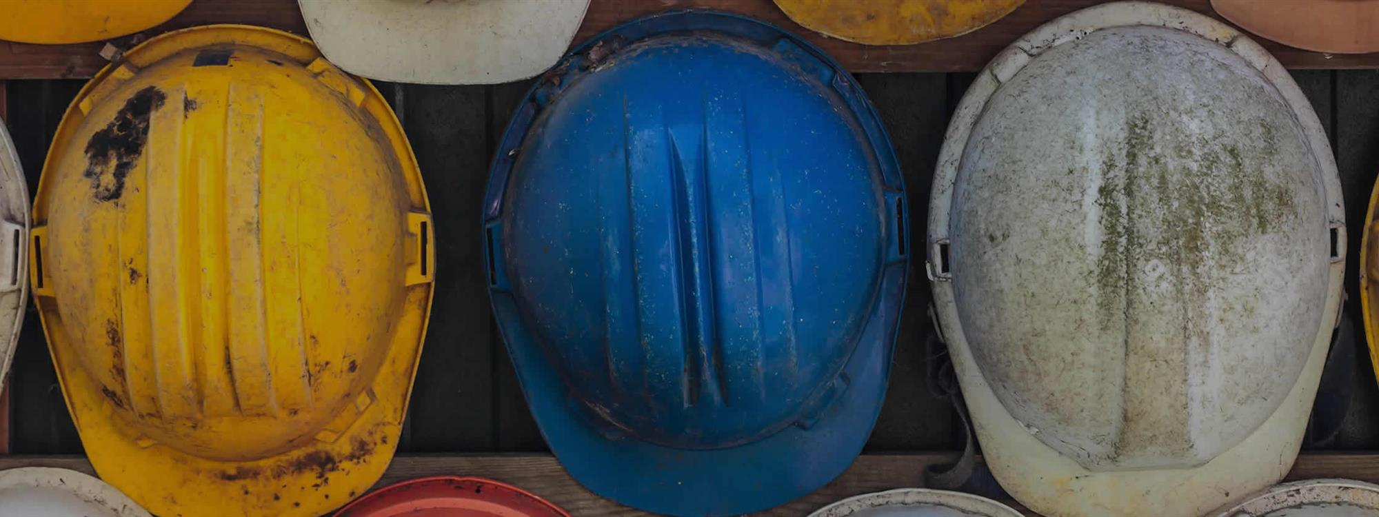multiple hard hats next to each other