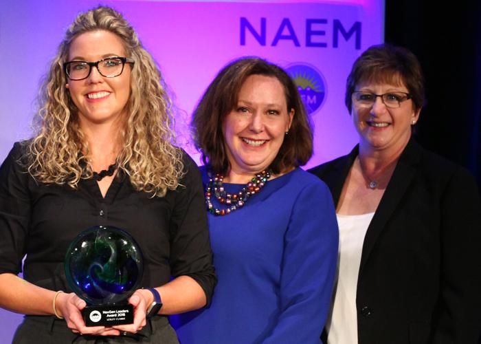 2018 NexGen Leaders Award winner Lesley Clarke with Carol Singer Neuvelt and Sandy Nessing